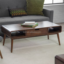 Hot sale wooden curved acrylic finish antique coffee table