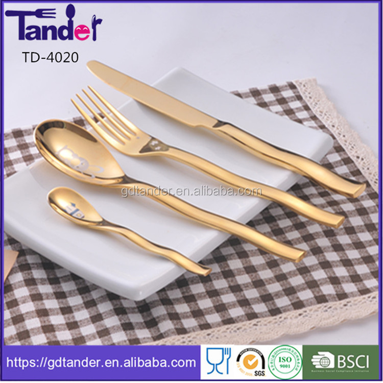 wedding gold plated stainless steel dinnerware,rose gold flatware,full gold cutlery