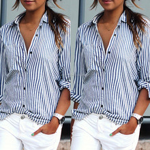 Female Womens Tops Fashion Striped shirts Women Long Sleeve Blouse