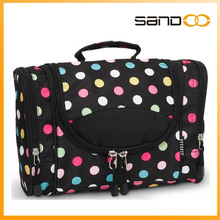 2016 Double Layer Fashion Cosmetic Bag with Polka Dot Travel Cosmetic Bag