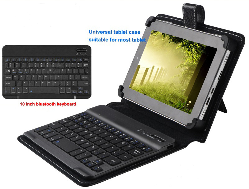 Universal bluetooth keyboard for ipad and for samsung accessaris with Leather case