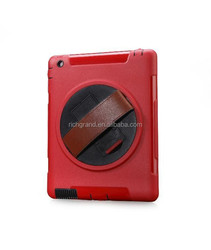 2016 hot sale 360 degree rotate flying wheel case cover with clip+leather belt gloves for ipad 4