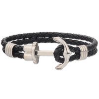 Mens Jewelry Custom Nautical Rope Leather Anchor Bracelet For Men