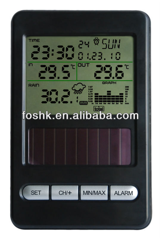 solar alarm clock digital thermograph room thermometer