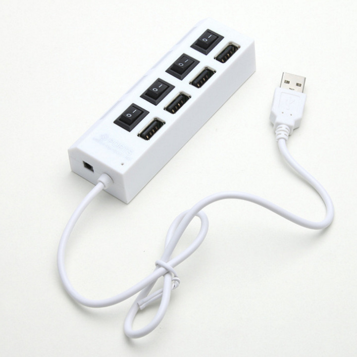 Wholesale high speed in desk charging charger 4 port por USB 2.0 hub with power switch