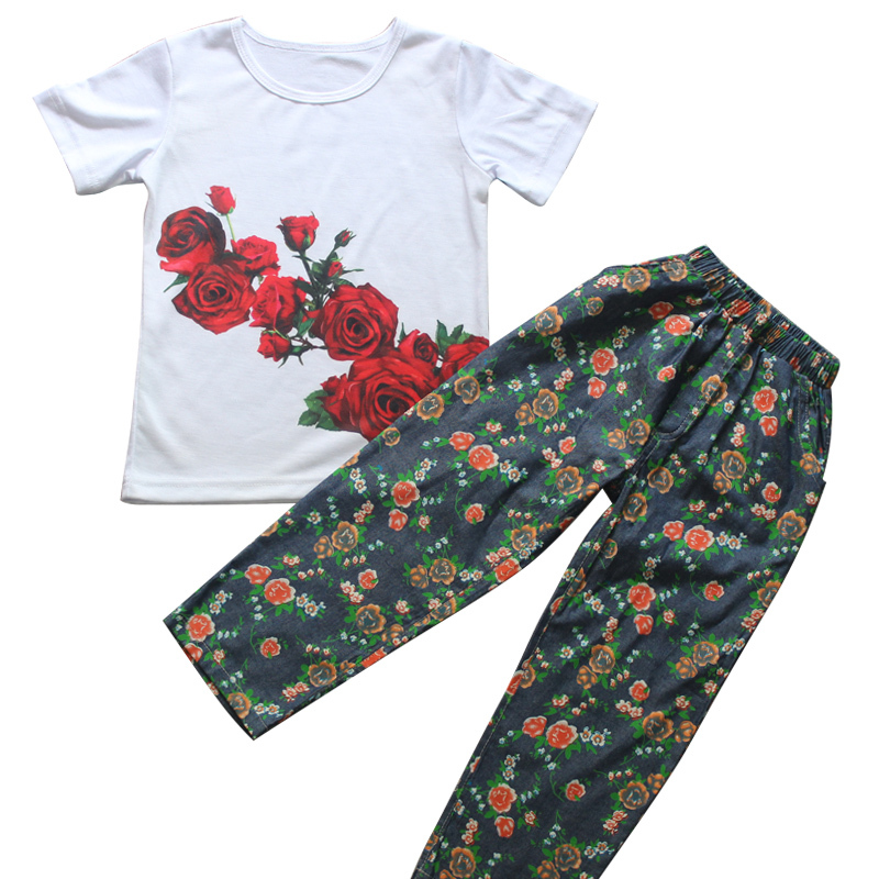children clothing set Floral kids clothes cartoon baby girl clothes Brand girl T shirt + long pants children casual sport suit