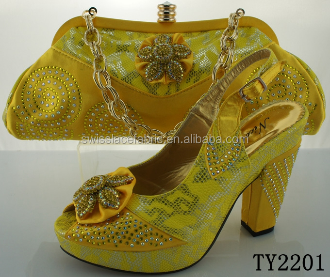 Fancy matching yellow shoes and bags / shoes and bags to match / wholesale italian matching shoe and bag for party dress