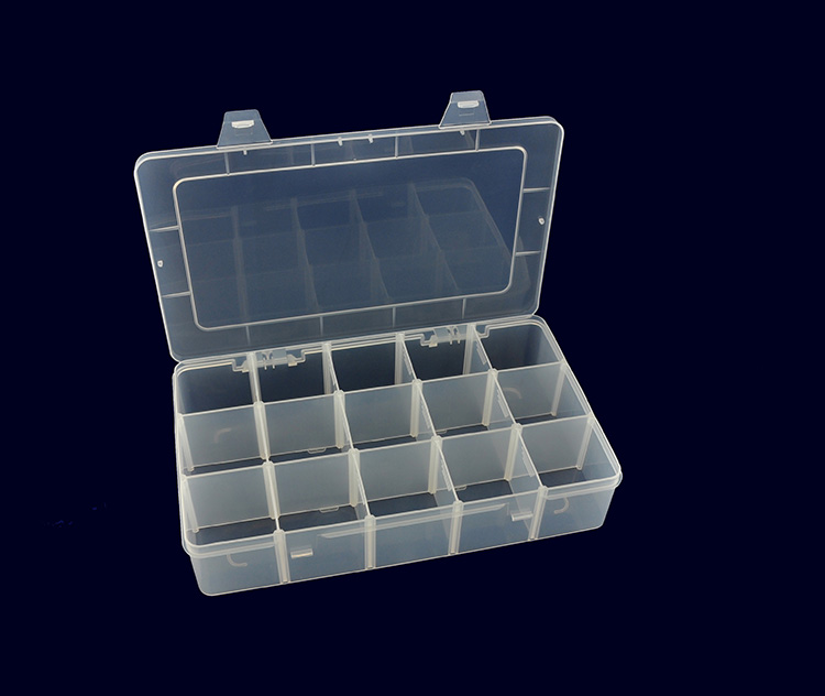 Portable Storage Clear Plastic Boxes with 15pcs Removable Dividers