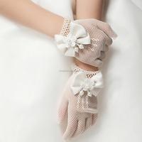 Glove manufacturer sales high quality child short full finger net bowknot glove for girls