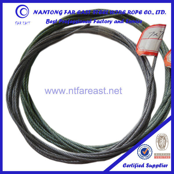 7x7-1.8mm Zinc (galvanized) coated steel wire rope/aircraft cable