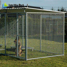 Outdoor Large Dog Galvanized Chain-Link Box Kennel Locking Gate Latch Crate