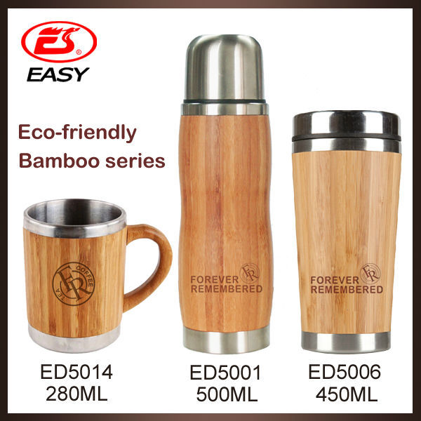 Hot sale 7oz office stainless steel bamboo cover drinking tea water mugs with handle by bamboo