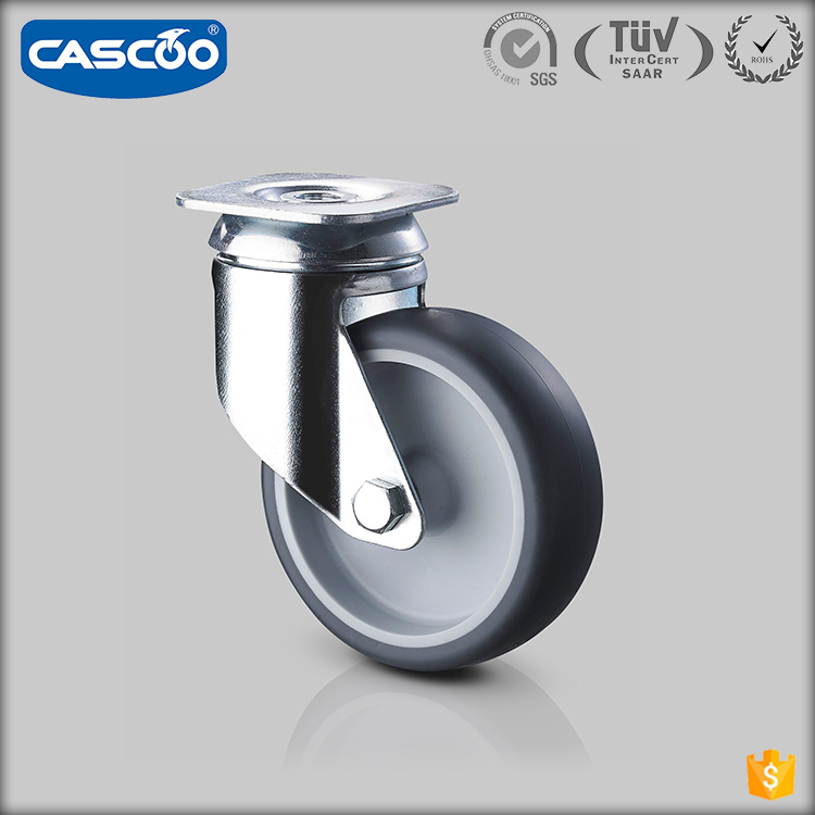 CASCOO European style Thermoplastic rubber 85A caster wheel, dolly swivel wheel