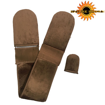 Most Popular 100%Velvet Self Tan Folding Back Lotion Applicator Tanning Mitt For Hard To Reach Areas