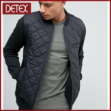 Latest Design Black Quilted Man Jacket With Baseball Collar