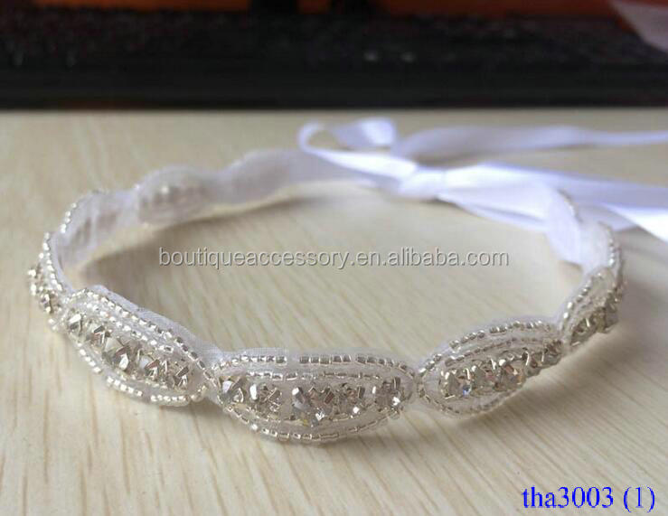 High Quanlity Luxury Diamond Hair Hoop Ribbon Bound Hair Accessories For Girl