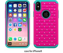 Bling Luxury pc silicone Diamond Silicone Case for Iphone 8, Shockproof Mobile Phone Case for Iphone 8