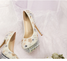 D450 custom make ivory thin heel crystal pearl bridal wedding shoes