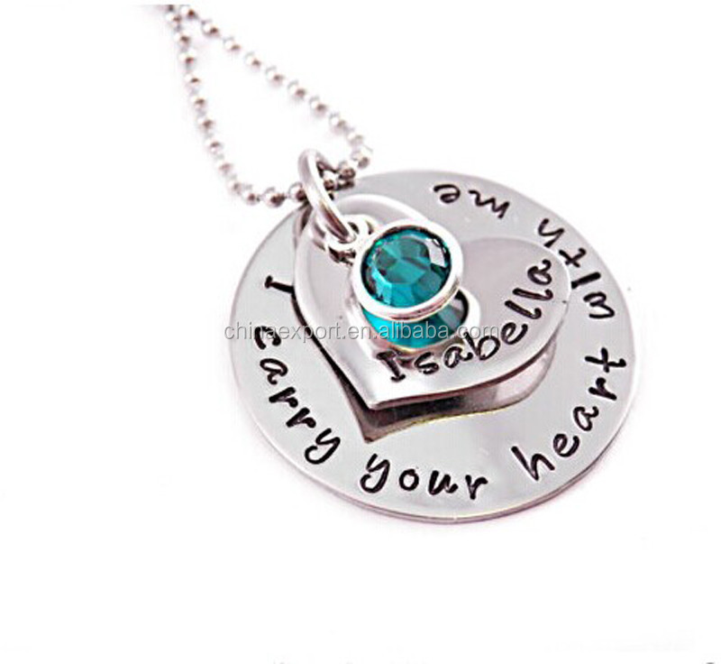 fashion personalized custom engraved letter alphabet pendant