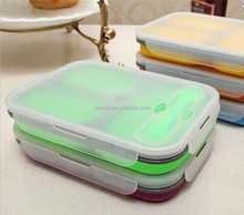 Newly Silicone Box Folding Lunch Case Microwave Food Container With Spoon