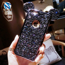 For Samsung Galaxy S6 Edge S7 S7Edge Note 3/4/5 Rhinestone Clear Cover 3D Diamond Glitter Mickey Mouse