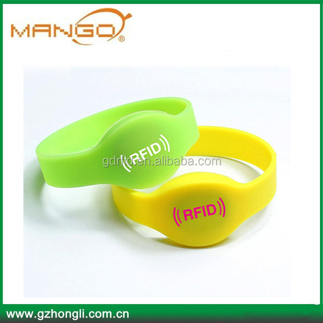 Hotselling silicone wristbands 13.56mhz rfid bracelet for access control spa/sauna/fitness/Swimming pools