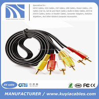 KUYIA Gold-Plated 3 RCA Male to 3 RCA Male AV TV audio &vedio Cable Cord