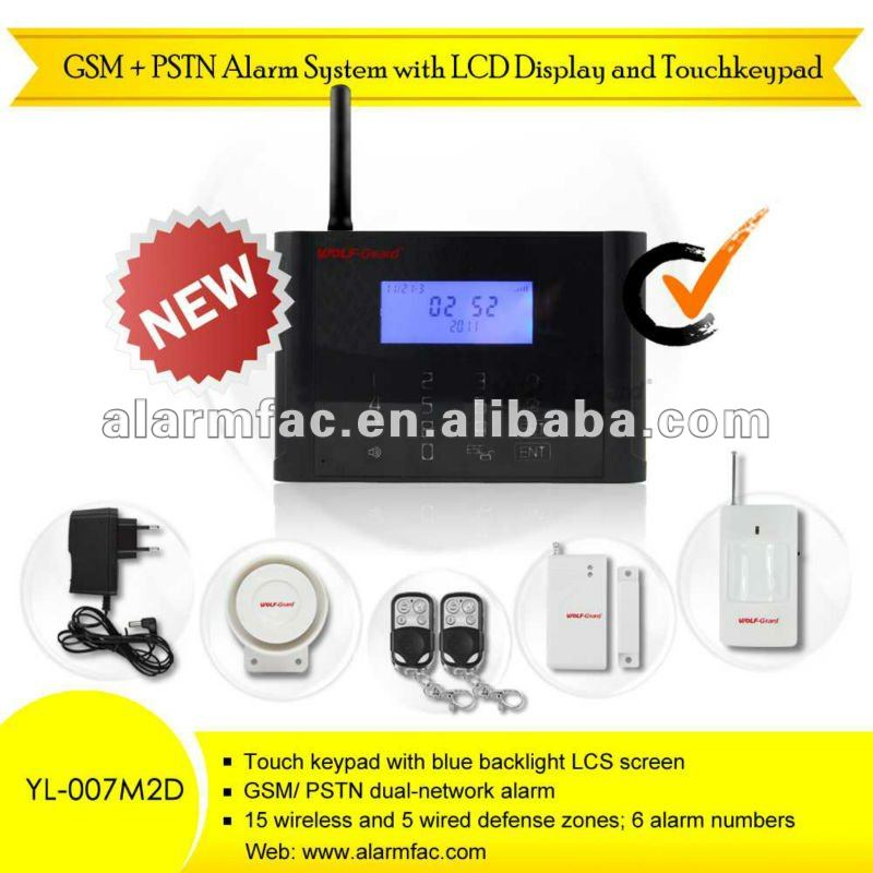 """buy one and get one free""!NEW GSM+PSTN home security alarm system with LCD display/wireless bug listening device"
