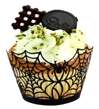 WB20 Hallowmas Spider Web Pattern Laser cut cupcake wrapper, paper cup, holiday supplies