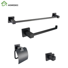 Stainless Steel Bath Fitting Black Accessories Set For Bathroom