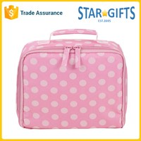 Wholesale Insulated Cute Silk Screen Polka Dot Pink Lunch Cooler Bag For Women