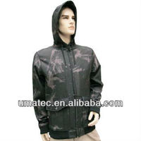 Men's Bonded Printed woven\Fleece Hooded Soft Jacket