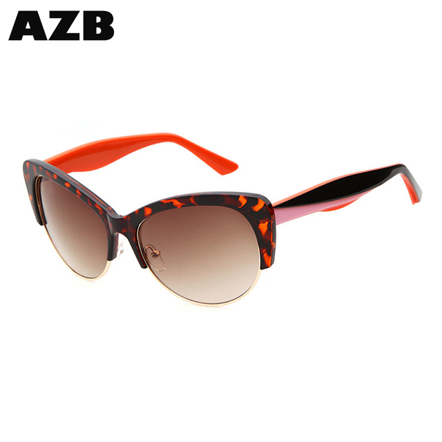 AZB 2017 High Quality sunglasses womens Butterfly Style Glasses Half Frame Sunglasses for wholesales