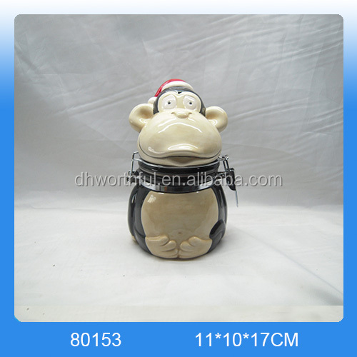 Creative chimpanzee shaped ceramic animal shape container with sealed cover