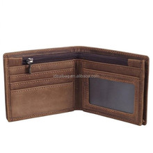 Genuine Natural Crazy Horse Leather Bifold Wallet