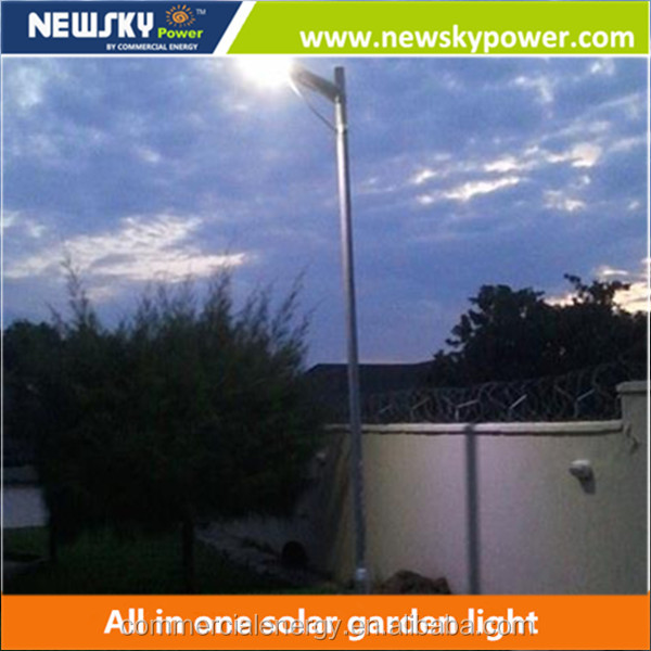 Ip65 long lifetime outdoor led power lamp solar integrated garden lighting with solar panel