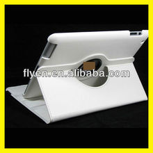 Magnetic Rotating Leather Case for the New iPad 3 Smart Cover With Swivel Stand 360 Degree Plain Synthetic Color White