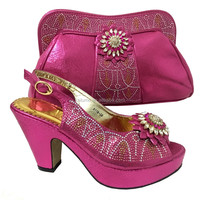 2017 African Woman Matching Italian Buckle Strap Shoe And Bag Set Wedding Shoe Women Shoe And Bag Set With Plenty Stones 6118-26
