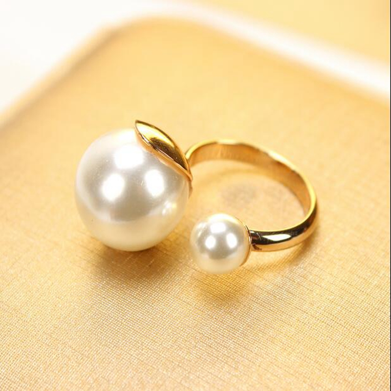 Unique Fashion Double Simullated Pearl <strong>Ring</strong> Korean Elegant Women Korean Lovely Girls Simulated Pearl Opening Adjustable <strong>Ring</strong>
