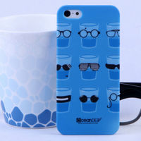 Blue pc hard rubberized water transfer custom printing case for iphone 5 cellphone case