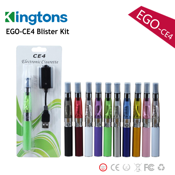 2015 best offer Kingtons ego ce4 e cigarette vaporizer pen, blister packing ego e cigarette with rechargeable battery