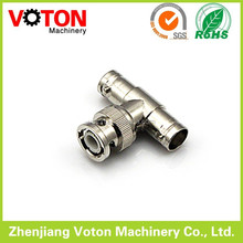 BNC male right angle to BNC double female adaptor T type 3 way rf adaptor