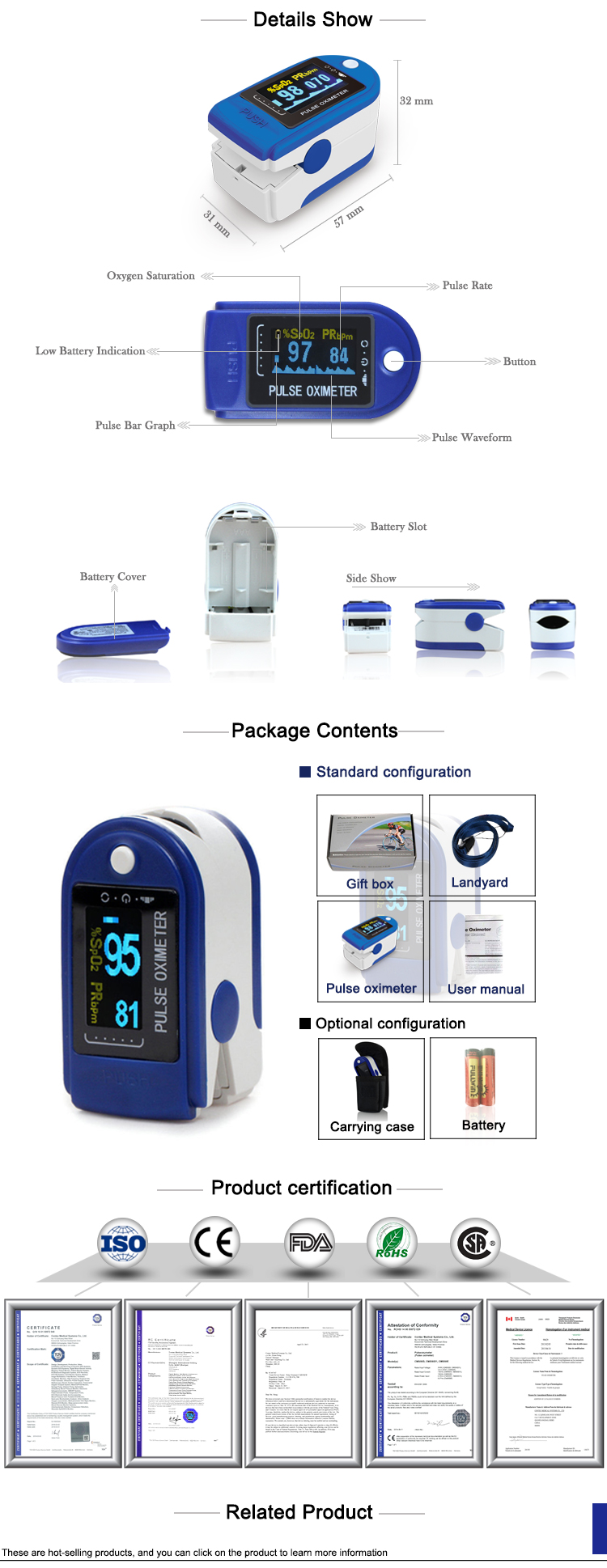 Super Sep Real manufacturer CONTEC CE FDA CMS50D  finger pulse oximeter