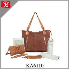 High Quality Genuine Leather Diaper Bag Stylish Baby Diaper Bag for Young Mummy