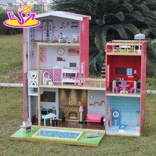 new design full size children pretend play wooden miniature dollhouse kits with furniture W06A152