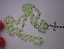Glow in the dark rose bead cross necklace rosary necklace