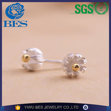 925 Sterling Silver Unique Elegant Golden Lotus Flower Bud Stud Earrings for Women Girls Pendientes Charm Christmas Jewelry Gift