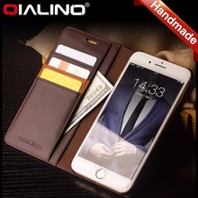 QIALINO Premium Leather Case with money pocket card slot phone case For iphone 6, wallet leather case for iphone 7 plus