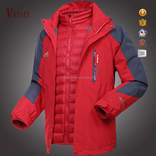 winter thick clothing double layers coat 2 windproof pieces outdoor down jacket