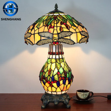 Tiffany Style Mission Stained Glass flower pattern fancy Lampe For Table lights